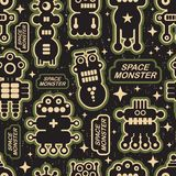 Vintage seamless texture with monsters. Stock Photo
