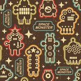 Vintage seamless texture with monsters. Stock Photography