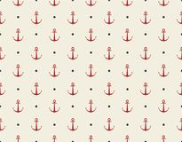 Vintage seamless texture. Red anchor, blue dots