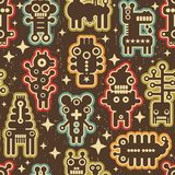 Vintage seamless texture with robots. Royalty Free Stock Image