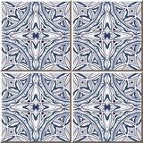 Vintage seamless wall tiles of aboriginal blue round curve outline, Moroccan, Portuguese. Vintage tile patterns can be used for wallpaper, pattern fills, web vector illustration