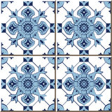 Vintage seamless wall tiles of blue check kaleidoscope, Moroccan, Portuguese. Royalty Free Stock Photography