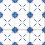 Vintage seamless wall tiles of blue dot line, Moroccan, Portuguese. Stock Photography