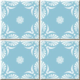 Vintage seamless wall tiles of blue fan shape white lace flower, Moroccan, Portuguese. Royalty Free Stock Photos
