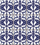 Vintage seamless wall tiles of blue flower leaf cross polygon, Moroccan, Portuguese. Stock Images