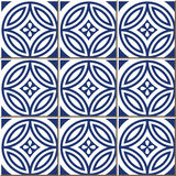 Vintage seamless wall tiles of blue round cross flower, Moroccan, Portuguese. Royalty Free Stock Photos