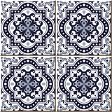Vintage seamless wall tiles of blue round curve square dot line, Moroccan, Portuguese. Royalty Free Stock Photos