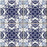 Vintage seamless wall tiles of blue round flower cross, Moroccan, Portuguese. Royalty Free Stock Images
