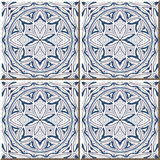 Vintage seamless wall tiles of blue round geometry outline, Moroccan, Portuguese. Royalty Free Stock Image