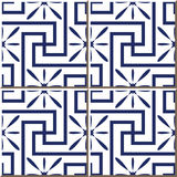 Vintage seamless wall tiles of blue square spiral cross flower, Moroccan, Portuguese. Stock Images