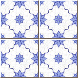 Vintage seamless wall tiles of blue star flower, Moroccan, Portuguese. Royalty Free Stock Images