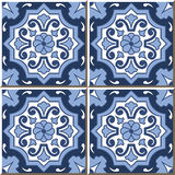Vintage seamless wall tiles of blue tone round flower, Moroccan, Portuguese. Stock Photos