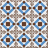 Vintage seamless wall tiles of check square cross flower, Moroccan, Portuguese. Royalty Free Stock Photography