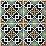 Vintage seamless wall tiles of cross chain star flower, Moroccan, Portuguese. Stock Photos