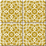 Vintage seamless wall tiles of cross polygon star lace, Moroccan, Portuguese. Stock Photo