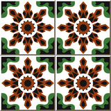 Vintage seamless wall tiles of crystal flower kaleidoscope, Moroccan, Portuguese. vector illustration