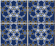 Vintage seamless wall tiles of curve star cross flower, Moroccan, Portuguese. Royalty Free Stock Photo
