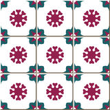 Vintage seamless wall tiles of flower geometry. Moroccan, Portuguese. Stock Image