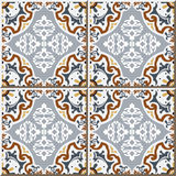 Vintage seamless wall tiles of flower oval kaleidoscope, Moroccan, Portuguese. Stock Photo