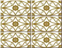 Vintage seamless wall tiles of golden round oval cross flower, Moroccan, Portuguese. Royalty Free Stock Photography
