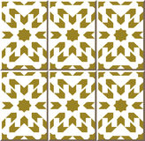 Vintage seamless wall tiles of golden star geometry, Moroccan, Portuguese. Royalty Free Stock Photos