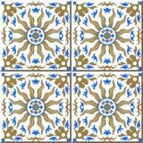 Vintage seamless wall tiles of golden sun blue kaleidoscope, Moroccan, Portuguese. stock illustration