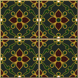 Vintage seamless wall tiles of green gold outline flower leaf, Moroccan, Portuguese. Royalty Free Stock Photos