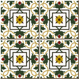 Vintage seamless wall tiles of green vine flower, Moroccan, Portuguese. Royalty Free Stock Photo