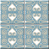 Vintage seamless wall tiles of hand drawn spiral kaleidoscope. Moroccan, Portuguese. Stock Photo
