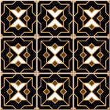 Vintage seamless wall tiles of Islam black golden cross star, Moroccan, Portuguese. Stock Photography
