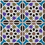Vintage seamless wall tiles of Islam star frame, Moroccan, Portuguese. Stock Image