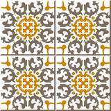 Vintage seamless wall tiles of kaleidoscope spiral geometry. Moroccan, Portuguese. Royalty Free Stock Photography