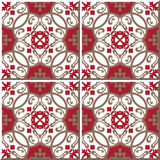 Vintage seamless wall tiles of oriental red spiral, Moroccan, Portuguese. Stock Photo