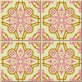 Vintage seamless wall tiles of pink gold round kaleidoscope line. Moroccan, Portuguese. Stock Image