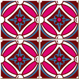 Vintage seamless wall tiles of pink round cross flower, Moroccan, Portuguese. Stock Image