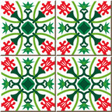 Vintage seamless wall tiles of red flower green calyx. Moroccan, Portuguese. Royalty Free Stock Photography