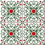 Vintage seamless wall tiles of red flower green vine, Moroccan, Portuguese. Royalty Free Stock Photos