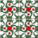 Vintage seamless wall tiles of red red flower spiral green vine, Moroccan, Portuguese. Stock Photo