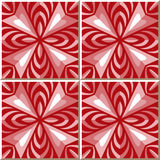 Vintage seamless wall tiles of red rhomb kaleidoscope. Moroccan, Portuguese. Stock Photography