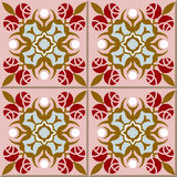 Vintage seamless wall tiles of rose flower. Moroccan, Portuguese. Royalty Free Stock Photography