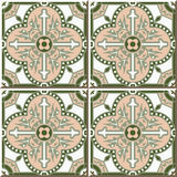 Vintage seamless wall tiles of round curve cross dot, Moroccan, Portuguese. Royalty Free Stock Photos