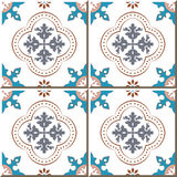 Vintage seamless wall tiles of round flower dot line, Moroccan, Portuguese. Royalty Free Stock Photography
