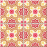 Vintage seamless wall tiles of star flower. Moroccan, Portuguese. Royalty Free Stock Image