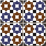 Vintage seamless wall tiles of star geometry, Moroccan, Portuguese. Royalty Free Stock Images