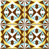 Vintage seamless wall tiles of star triangle kaleidoscope. Moroccan, Portuguese. Stock Photo