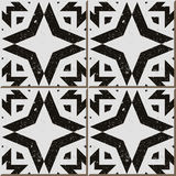 Vintage seamless wall tiles of worn out black white polygon, Moroccan, Portuguese. Royalty Free Stock Photos