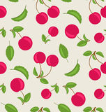 Vintage Seamless Wallpaper of Cherries with Green Leaves Stock Photos
