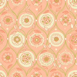 Vintage seamless wallpaper with floral ornament. Ethnic decorative pattern. Background in rustic style. It can be used for wallpaper, pattern fills, web page Stock Photography