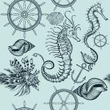 Vintage seamless wallpaper pattern with sea animals Stock Image