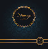 Vintage seamless wallpaper with a ribbon and frame Royalty Free Stock Photo
